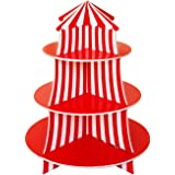 3 Tier Cupcake Foam Stand with Circus Carnival Tent Design for Desserts, Birthdays, Decorations