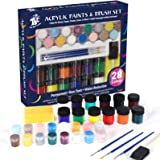 TBC The Best Crafts 28 Colors Acrylic Paint and Brush Set,Water-Reducible, Vibrant Colors , Educational Grade Arts and Crafts