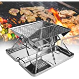 BBQ Grill, Stainless Steel Folding Portable 3-4 People Picnic Barbecue Grill Camping Grill Tabletop Grill, Not Easy to Stick