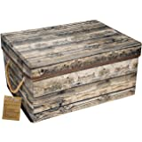 Livememory Storage Bins Stackable Storage Boxes with Lid and Handles for Office, Bedroom, Closet, Toys-- Wood Grain