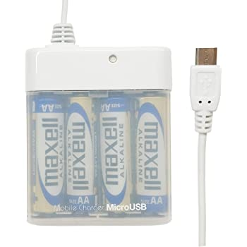 エアージェイ microUSB搭載スマホ専用 モバイルバッテリー単三乾電池式充電器 ホワイト BJ-XP1 WH