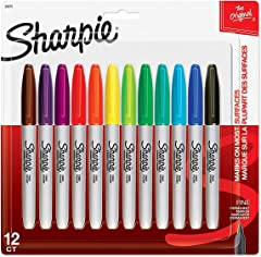 Sharpie 30075 Fine, Permanent Marker Assorted (12 Pieces)
