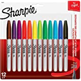 Sharpie Permanent Markers, Fine Point, Assorted Colors, 12 Count, (30075PP)