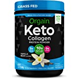 Orgain Keto Collagen Protein Powder with MCT Oil, Vanilla - Paleo Friendly, Grass Fed Hydrolyzed Collagen Peptides Type I and