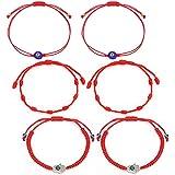 6 Pieces Adjustable Red Bracelet Kabbalah 7 Knots Bracelet Hamsa Hand Amulet Bracelet for Protection, Evil Eye and Good Luck