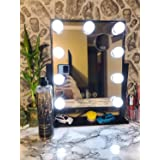 Hollywood Lighted Vanity Makeup Mirror,Light-up Professional Mirror with storage,Multiple Color Modes, Large Cosmetic Mirror