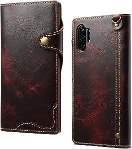 【DINGXIN 厳選品】 Samsung Galaxy Note10+ ケース 手帳型 本革 カードポケット マグネット式 【 最高級本革 (牛革) + 100%手作り】ソフトTPUインナ Galaxy Note 10 Plus docomo SC-01M au SCV45 ギャラクシーノート10プラス スマートフォン カバー ストラップ付き (Galaxy Note10+, レッド)