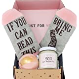 Special Birthday Womens Gift Basket Box for Her- WIth Relaxing Bath Bomb, Funny Socks,Soy Candle
