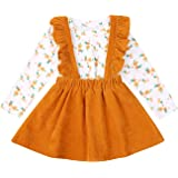 Baby Girl Skirt Set Long Sleeves White Shirt Top+Corduroy Strap Skirt Spring Floral Outfits