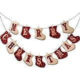 HALLO Merry Christmas Burlap Banner-Sock Shaped Christmas Decoration,Outdoor Indoor Hanging Decor,Rustic Christmas Decoration