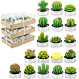 Lawei 18 Pack Cactus Tealight Candles - Handmade Delicate Succulent Mini Plants Candles - Perfect for Home Decor Candles Fest