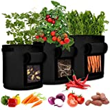 Dchant&Wiiiisen Potato Grow Bags 3 Packs 7 Gallon Plant Grow Bags with Window Flap Breathable Planting and Two Handles Thicke