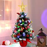 AerWo 60cm Mini Tabletop Christmas Tree with 70 LED String Lights, 28 Christmas Ornaments and Wooden Base for Home Holiday De
