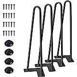 """SMARTSTANDARD 16"""" Hairpin Legs, for Coffee Table, Bench, 2 Rods of 3/8"""" Heavy Duty Steel, Set of 4 Black Pcs"""