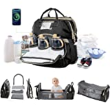 Baby Diaper Bag Backpack with Detachable Changing Station Diaper Bags for Baby Boy Girl with Bassinet Bed Mat,Travel Diaper B