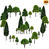 40 Pieces Model Trees -1.57-5.90 inch Mixed Model Tree Train Trees Architecture Diorama Ho Scale Model Trees for DIY Crafts o