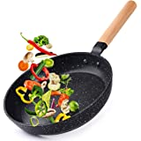 """Caannasweis 8"""" Nonstick Frying Pan, Dishwasher Safe Skillet For Cooking, Professional Nonstick Fry Pan With Wooden Handle, S"""