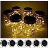 6 Pack Mason Jar Lights 20 LED Solar Warm White Fairy String Lights Lids Insert for Patio Yard Garden Party Wedding Christmas