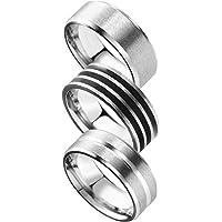 Freate 指輪 メンズ リング 3個セット ステンレス シルバー シンプル (10号)