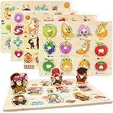 CORPER TOYS 木製パズル 型はめパズル かたはめパズル 積み木 形合わせ 形認識 パズル 英語おもちゃ 5種類シリーズ 男の子 女の子 カラフル プレゼント クリスマス 68PCS 八歳以上
