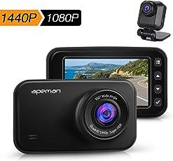 APEMAN ドライブレコーダー 前後カメラ デュアルレンズ 1440P フルHD 2カメラ WDRドラレコ リアカメラ 2.7インチLCD ダブルカメラ 広視野角 Gセンサー搭載 駐車監視 夜視機能搭載