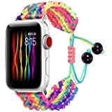Bandmax Rainbow Band Compatible for Apple Watch 38MM 40MM, Colorful Rope iWatch Series 4/3/2/1 Nylon Wristband Accessories Ha