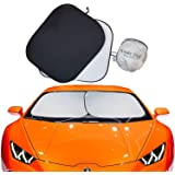 Kinder Fluff Windshield Sun Shades (210T Fabric) The Only Certified Sunshade to block 99.02% UVA & 99.87% UVB. Foldable Sunsh