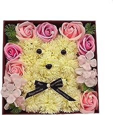 NOYOC ソープフラワー 石鹸花 ボックス入り 可愛いクマ 創意方形ギフト 母の日 父の日 先生の日 結婚祝い 退職祝い お見舞い 新築祝い 卒業祝い 入学祝い 贈り物 プレゼント