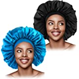 L'VOW 2 Pieces Large Satin Bonnet Sleep Cap Silky Night Hat with Wide Elastic Band for Women Hair Loss Curly Natural Long Hai