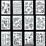 Copeflap ステンシルシート 12枚組 ステンシル 手帳 テンプレート ステンシルプレート アルファベット 定規…