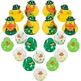 4E's Novelty Bulk 24 Mini St. Patrick's Rubber Duckies, Shamrock Rubber Ducks, Miniature Irish Decor Party Favors for Kids, S