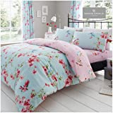 Gaveno Cavailia Luxury Birdie Blossom Bed Set with Duvet Cover and Pillow Case, Polyester-Cotton, Blue, King