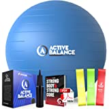 Active Balance Exercise Ball - Gym Grade Fitness Ball for Stability, Balance & Yoga - Comes With Bonus Resistance Bands and e