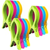 Attmu Beach Towel Clips for Beach Chairs(12 Pack), Towel Holder in Fun Bright Colors, Keep Towel from Blowing Away (D-12 Pack