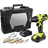 CACOOP 20V MAX Cordless Drill Set with Battery and Rapid Charger, Robust Titanium Plated Drill Bits,LIght Weight Battery Powe