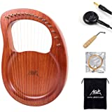 Lyre Harp, AKLOT 16 Metal Strings Mahogany Lye Harp with Tuning Wrench Pick up and Black Gig Bag