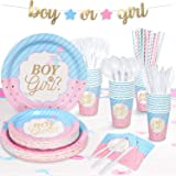 "Decorlife Gender Reveal Party Supplies for 24, 194PCS Baby Gender Reveal Decorations, Pre-strung Boy or Girl Banner, 54"" x 10"
