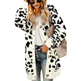 Saodimallsu Womens Open Front Button Down Cardigans Long Batwing Sleeve Leopard V Neck Knit Sweaters