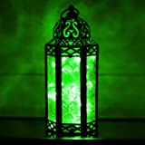Green Glass Moroccan Style Lantern with Optional Matching LED Fairy String Lights