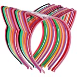 24 Cat Ear Headbands Plastic Hairbands Hair Hoops Party Costume Daily Decorations Party Bunny Cat Bow Headwear Cats Accessori