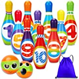 Kids Bowling Set Game Indoor Toys 10 Colorful Soft Foam Pins 2 Bowling Balls Toss Toy Printed with Number Developmental Educa