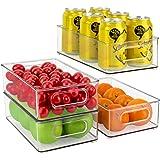 JuneHeart Refrigerator Organizer Bins, Set of 4 Fridge Storage Bins with Handles for Freezer, Kitchen, Countertop and Cabinet