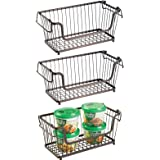 mDesign Modern Farmhouse Metal Wire Household Stackable Storage Organizer Bin Basket with Handles, for Kitchen Cabinets, Pant