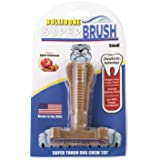 Bullibone SuperBrush: Dog Teeth Cleaning Brushing Stick - Durable Long Lasting Nylon Apple Cinnamon Chew Toy for Canine Oral