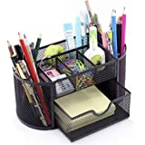 Minima 9 Compartments Desk Organiser Caddy Oval Shaped with Drawer for Home Office