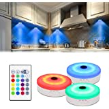 Bason Puck Lights with Remote,Under Cabinet led Lighting,RGB Wireless Rechargeable Light for Closet,Display case,3 Pack…