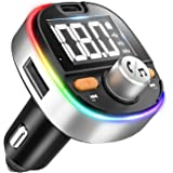 5.0 Bluetooth FM Transmitter for Car, Type-C PD3.0 18W Car Bluetooth Adapter, 7-Colors LED Backlit, Hands-Free Calling, Heavy