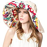 FTSUCQ Womens Sun Hat Floppy UPF 50+ Bonnet Folding Large Brim Cap