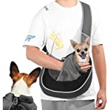 Dog Sling Carrier for Small Dogs, Puppy Carrier with Breathable Mesh Zipper Pocket, Black Hand Free Pet Sling with Adjustable