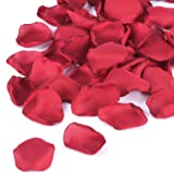 NEATICOO Burgundy Rose Petals 300pcs Silk Rose Petals Flower Girl Sprinkle Petals for Wedding Anniversary Table Centerpieces